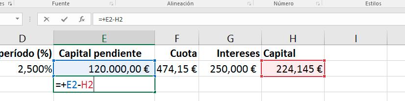Fórmula en Excel para el cálculo del capital pendiente en la siguiente cuota