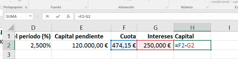 Cálculo del capital amortizado en la cuota de un préstamo en Excel