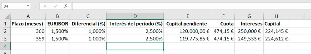Cálculo en Excel de cuotas y capital pendiente la siguiente cuota de la hipoteca